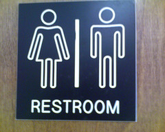 Gender non-specific bathroom sign